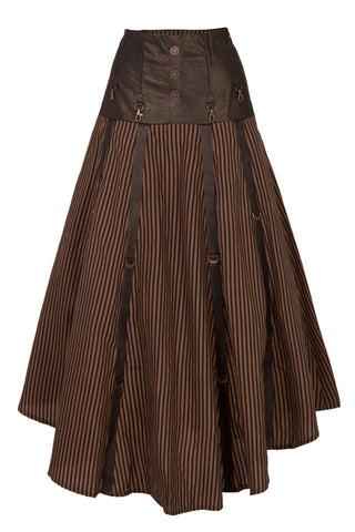 Banned Long Striped Steampunk Skirt Corset Waist | Angel Clothing