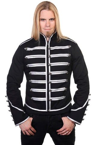 Banned Mens Military Drummer Jacket - Black with Silver Trim - Angel Clothing