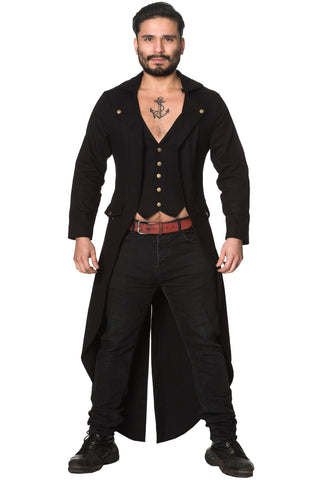 Banned Mens Zone Out Jacket, Gothic Tailcoat - Angel Clothing