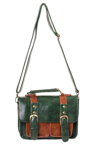 Banned Mini Steampunk Satchel, Forest Green and Brown Faux Leather Steampunk Handbag/Shoulder Bag | Angel Clothing