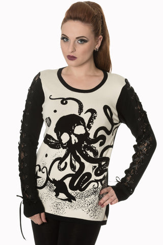 Banned Off White Afterlife Begins Octopus Knit Jumper - Angel Clothing