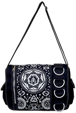 Banned Pentagram Black Messenger Bag | Angel Clothing