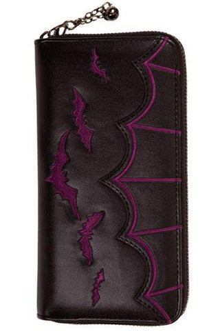 Banned Purple Bats Embroidery Purse | Angel Clothing