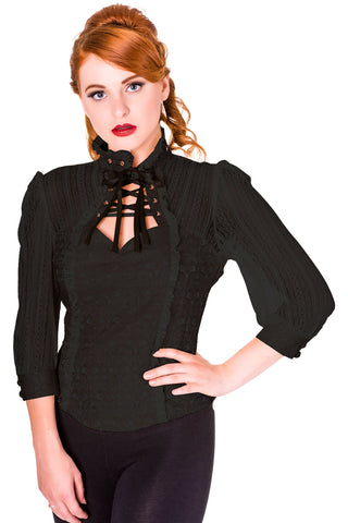 Banned Rise of Dawn Shirt Blouse Black | Angel Clothing