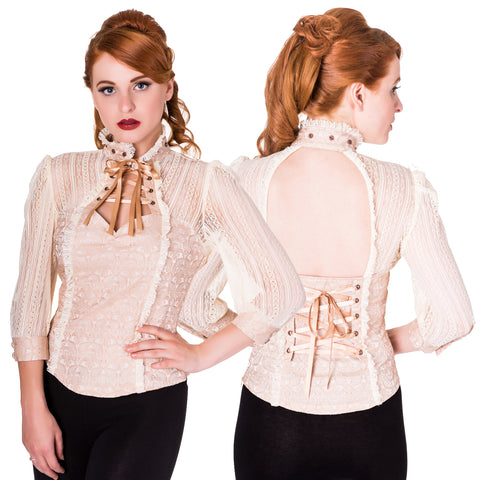 Banned Steampunk Blouse, Rise of Dawn Shirt in Cream Brocade | Angel Clothing
