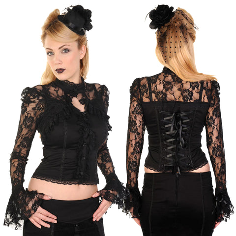 Banned Steampunk Black Lace Corset Shirt | Angel Clothing