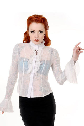 Banned Steampunk Clothing - Cream Lace Ruffle Blouse - Angel Clothing
