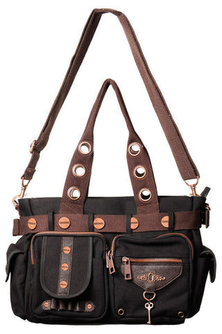 Banned Steampunk Shoulder Bag, Black and Brown Canvas with Key and Copper Rivet Detail | Angel Clothing