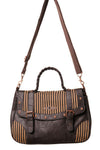 Banned - Steampunk Shoulder / Hand Bag with Striped Pattern | Angel Clothing