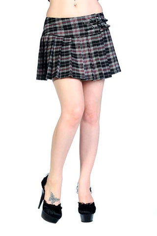 Banned Tartan Mini Skirt Black White Pink | Angel Clothing