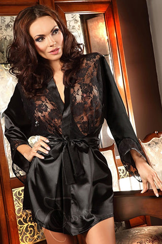 Beauty Night Prilance Short Black Dressing Gown See Through Panels | Angel Clothing