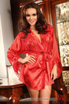 Beauty Night Prilance Short Red Dressing Gown See Through Panels | Angel Clothing