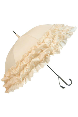 Beige Triple Frill Steampunk Umbrella / Parasol | Angel Clothing
