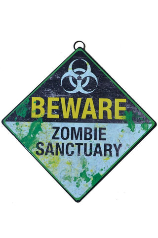 Beware Zombie Sanctuary Metal Sign | Angel Clothing