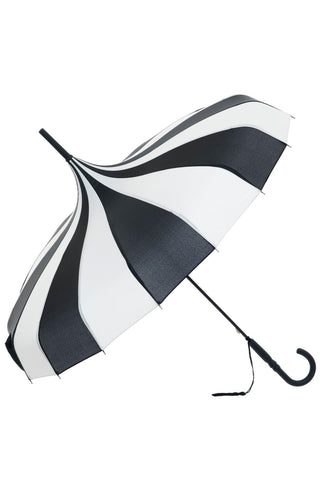 Black and Cream Pagoda Umbrella / Parasol | Angel Clothing