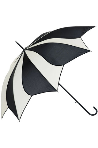 Black and Cream Swirl Walking Stick Umbrella | Angel Clothing