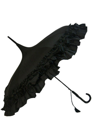 Black Frilled Pagoda Umbrella / Parasol | Angel Clothing