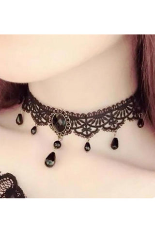 Black Lace Gothic Choker with Teardrop Beads | Angel Clothing