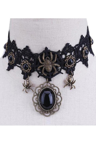 Black Lace Gothic Spiderweb Choker | Angel Clothing
