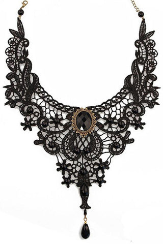 Black Lace Gothic Yoke Necklace | Angel Clothing