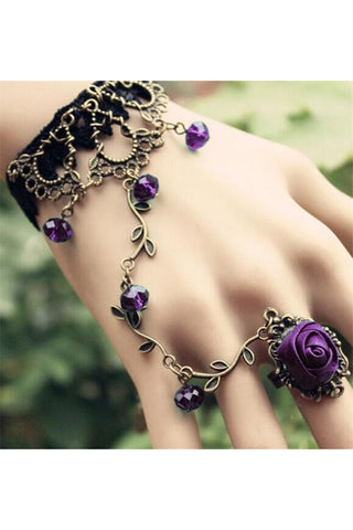 Black Lace Purple Rose Slave Bracelet | Angel Clothing