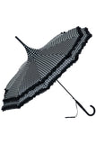 Black Polkadot Frilled Pagoda Umbrella / Parasol | Angel Clothing