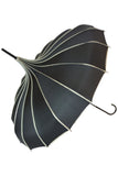 Black Ribbed Pagoda Umbrella / Parasol | Angel Clothing