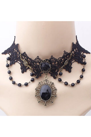 Black Rose Cabochon Bead Choker | Angel Clothing