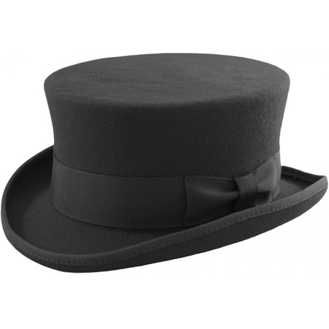 Black Wool Felt Steampunk Dressage Top Hat (10cm High) | Angel Clothing
