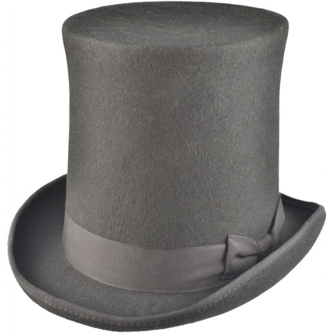 Black Wool Felt Steampunk Stovepipe Hat, Very Tall Top Hat - Angel Clothing