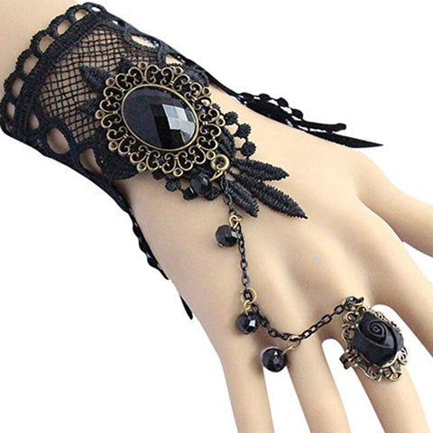 Black Rose Lace Slave Bracelet | Angel Clothing