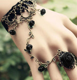 Black Lace Black Rose Slave Bracelet | Angel Clothing