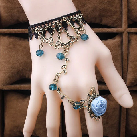 Black Lace Blue Rose Slave Bracelet | Angel Clothing
