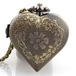 Heart Shaped Pocketwatch Necklace Antique Bronze | Angel Clothing