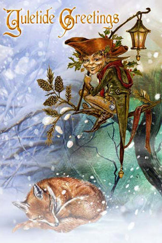 Briar The Holly Jack Christmas Card, Gothic Fox and Elf Greetings Card | Angel Clothing
