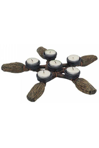 Broomstick Pentagram Tea Light Holder | Angel Clothing