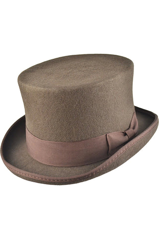 Brown Wool Felt Steampunk Top Hat | Angel Clothing