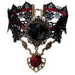 Bordeaux and Black Lace Gothic Rose Choker | Angel Clothing