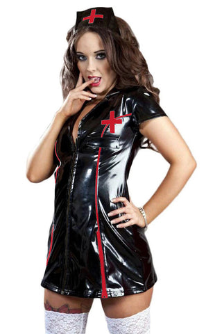 Burleska Black Red Nurse Uniform | Angel Clothing
