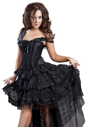 Burleska Black Gothic Lace Dress - Ophelie Dress Black Lace - Angel Clothing