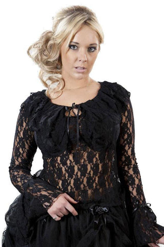 Burleska Brenda Top Long Sleeve Black Lace | Angel Clothing