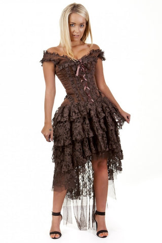 Burleska Brown Brocade Steampunk Dress - Ophelie Dress Brown Lace | Angel Clothing