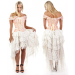 Burleska Cream Steampunk Dress - Baby Pink King Brocade Ophelie Dress | Angel Clothing