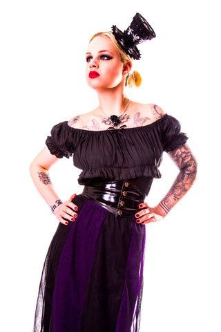 Burleska Gothic Black Cotton Gypsy Top - Black / Black | Angel Clothing