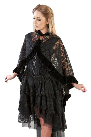 Burleska Gothic Clothing Catherine Gothic Cape in Black lace with Black Flock Trim - Angel Clothing