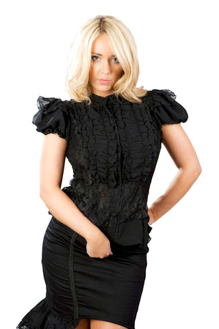 Burleska Gothic Clothing Katie Victorian Shirt, Black Chiffon and Lace Gothic Top - Angel Clothing