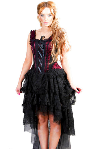 Burleska Gothic Corset Dress - Ophelie Dress Burgundy Satin Flock | Angel Clothing
