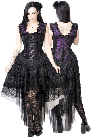 Burleska Gothic Dress - Purple King Brocade Ophelie Dress | Angel Clothing