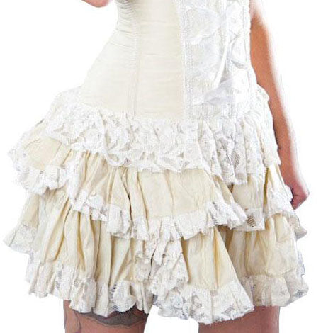 Burleska Sophia Mini Skirt Cream | Angel Clothing