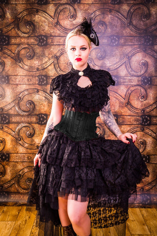 Burleska Steampunk Blouse - Dita Black Lace Top with Button Neck | Angel Clothing